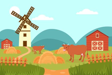 Kuh auf dem Hintergrund der ländlichen Landschaft des Sommers, des Bauernhofes und der Windmühlenvektorillustration im flachen Stil, Webdesign Vektorgrafik