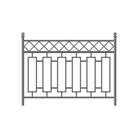 Eisenzaun, Schutzbarriere für Haus, Garten, Parkvektor Illustration lokalisiert auf einem weißen Hintergrund.