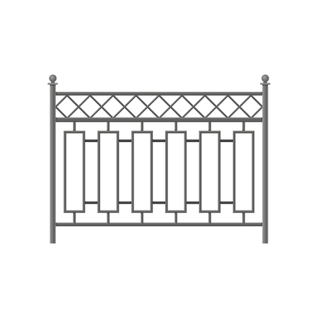 Iron fence, protective barrier for house, garden, park vector Illustration isolated on a white background.