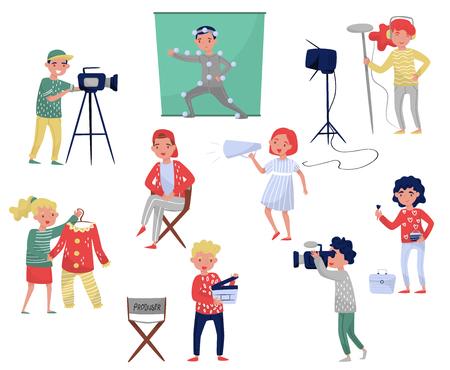 Miembros del equipo de filmación. Productor en silla, camarógrafo con equipo, diseñador de vestuario, maquillador. Industria cinematográfica. Profesionales en el trabajo. Personajes de dibujos animados de personas. Conjunto de vector plano colorido. Ilustración de vector