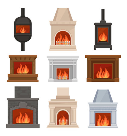 Fireplaces with fire set, stone and cast iron mantels vector Illustrations isolated on a white background.