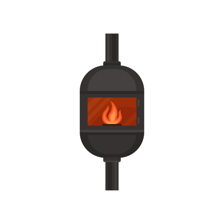 Vintage cast iron gas fireplace vector Illustration isolated on a white background.