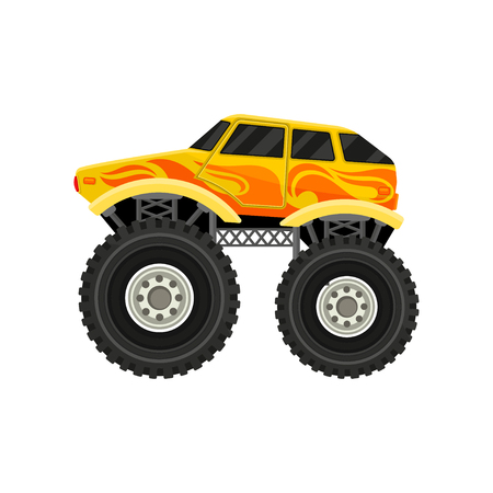 Cartoon icon of bright yellow monster car with large tires. Side view. Colorful graphic element for mobile game, advertising poster or banner. Flat vector illustration isolated on white background.