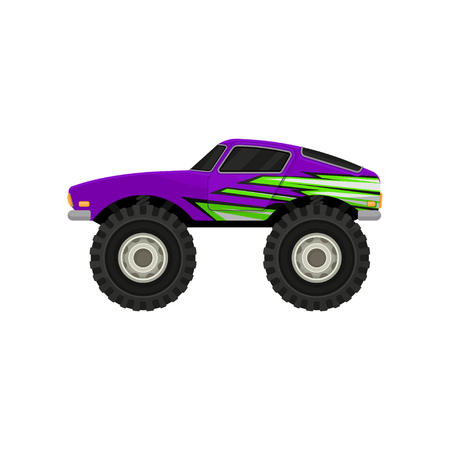 Purple monster truck in flat style. Cartoon icon of car with large tires, black tinted windows and green decal. Extreme transport. Element for computer or mobile video game. Isolated vector design. Vektoros illusztráció