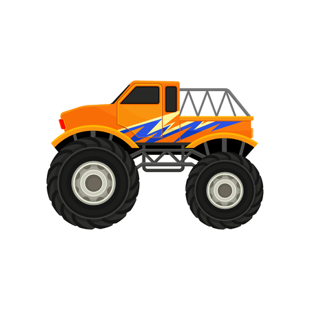 Cartoon illustration of heavy monster truck. Orange pickup with large tires, black tinted windows and blue decal. Automobile theme. Colorful vector icon in flat style isolated on white background.