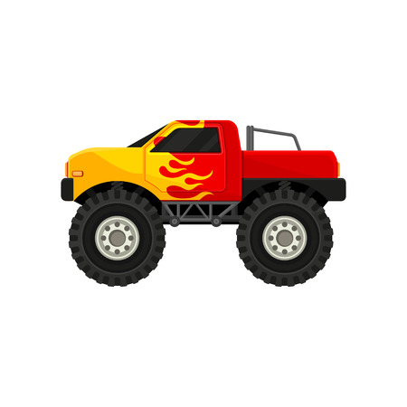 Bright red monster truck with yellow flame decal. Heave car with large tires and black tinted windows. Automobile theme. Cartoon style icon. Colorful flat vector design isolated on white background. Illustration