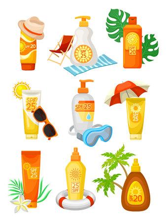 Conjunto de botellas y tubos de protector solar con diferentes objetos. Productos cosméticos con SPF. Lociones y cremas para la protección de la piel. Elementos para cartel promocional o banner. Ilustración de vector plano aislado