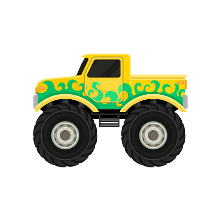 Large bright yellow pickup truck with green decal. Monster car with big tires and black tinted windows. Side view. Extreme transport. Colorful flat vector illustration isolated on white background.