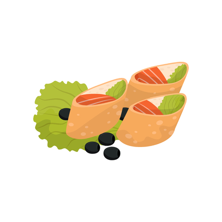 Wheat roll with cream cheese and salmon, banquet snack vector Illustration isolated on a white background.