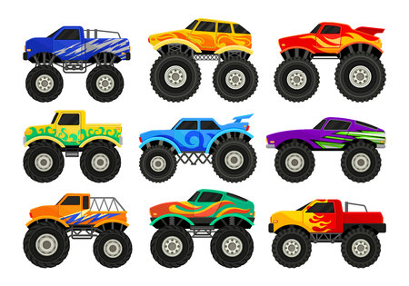 Set of colorful monster trucks. Heavy cars with large tires and black tinted windows. Graphic elements for advertising poster, computer or mobile video game. Flat vector isolated on white background.