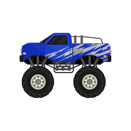 Blue monster pickup truck. Car with large tires, black tinted windows and silver wrap decal. Automobile theme. Graphic element for computer or mobile game. Colorful flat vector icon isolated on white.