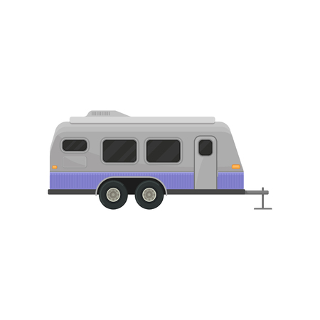 Classic camper trailer for family journey. Home on wheels. Vehicle for comfort travel. Graphic element for advertising poster or banner. Colorful vector illustration in flat style isolated on white. Illusztráció