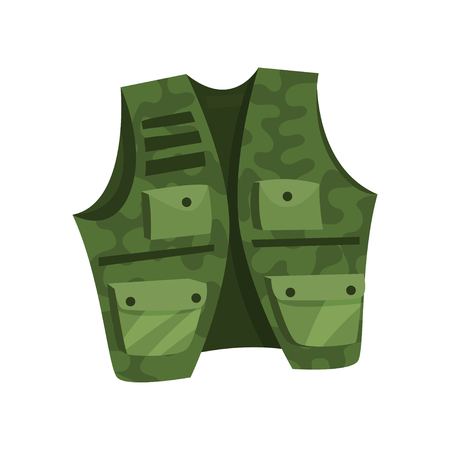 Green vest of hunter and fisherman vector Illustration isolated on a white background.
