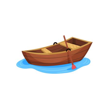 Barca da pesca in legno vettoriale illustrazione isolato su sfondo bianco.