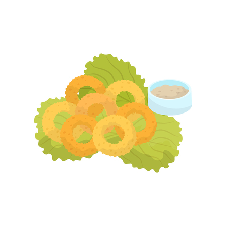 Onion rings, lettuce and sauce fast food dish vector Illustration isolated on a white background.