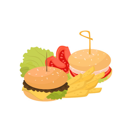 Two burgers, french fries and tomatoes, fast food dish vector Illustration isolated on a white background.