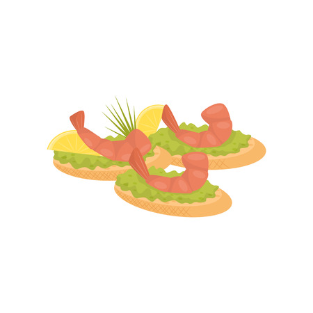 Canape with shrimp, lemon and lettuce, banquet snack vector Illustration isolated on a white background.