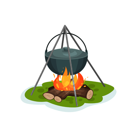 Camping pot over bonfire, delicious fish soup cooking vector Illustration isolated on a white background. Иллюстрация