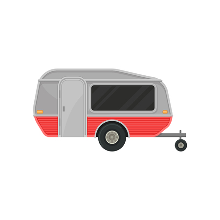 Small gray camper trailer with door and big tinted window, side view. Recreational vehicle. Home of wheels. Transport for comfort travel. Colorful vector illustration in flat style isolated on white.