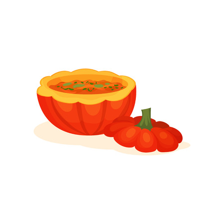 Soup within the pot of a ripe pumpkin, delicious creamy soup made with fresh pumpkin vector Illustration isolated on a white background.