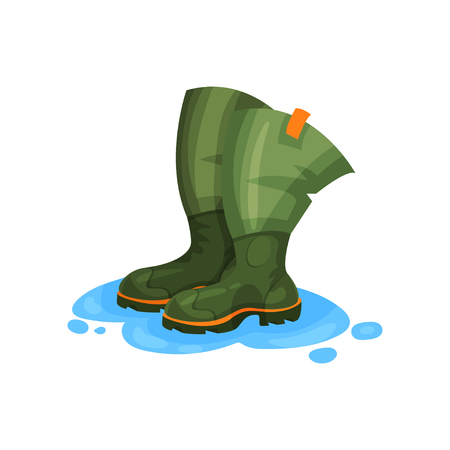 Rubber boots of fisherman, outdoor traveling element vector Illustration isolated on a white background. Illustration