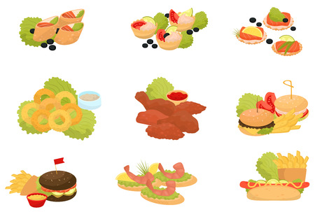 Fast food set, traditional fast food meals, canapes for banquet vector Illustrations isolated on a white background.
