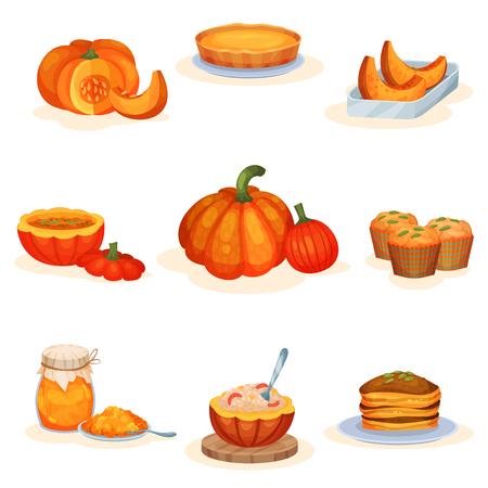 Tasty pumpkin dishes set, pie, soup, jam jar, muffin, porridge, pancakes vector Illustrations isolated on a white background. Ilustração