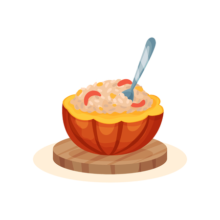 Porridge within the pot of a ripe pumpkin, organic healthy autumn food vector Illustration isolated on a white background.