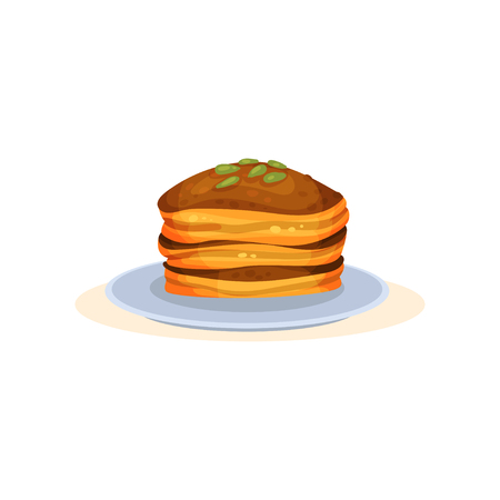 Pumpkin pancakes, organic healthy autumn food vector Illustration isolated on a white background.
