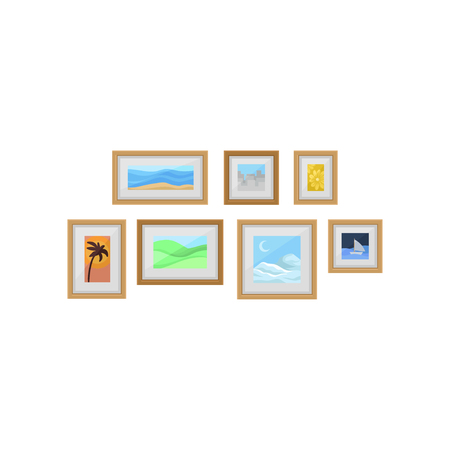 Decorative frames with photos on wall, interior design element vector Illustration on a white background