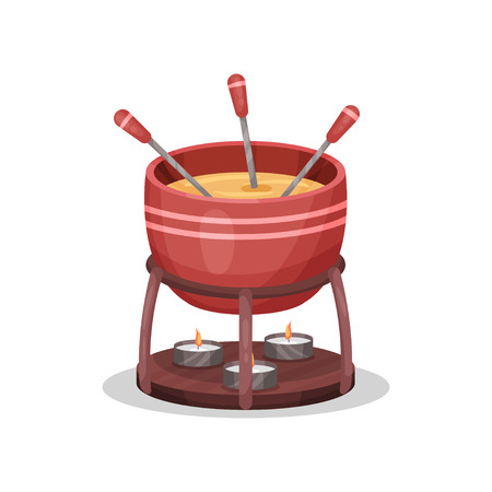 Cheese fondue, delicious dish of French cuisine vector Illustration on a white background Stok Fotoğraf