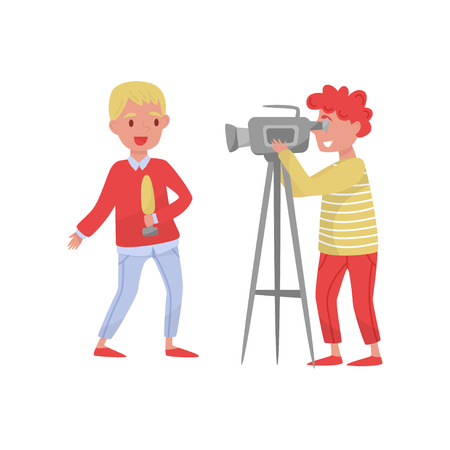 Young reporter with microphone and man with camera. Professionals at work. Cartoon people characters making TV news. Television theme. Colorful flat vector illustration isolated on white background. Illustration