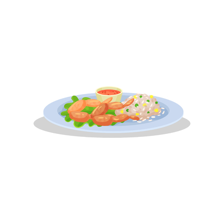 Frog legs with garnish on a plate, delicious dish of French cuisine vector Illustration isolated on a white background.
