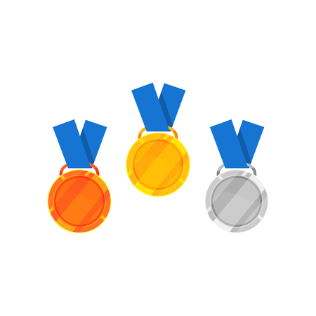 Cartoon icon of gold, silver and bronze medal with blue ribbon. Shiny awards for winners of competition. Victory symbols. Colorful vector illustration in flat style isolated on white background. 일러스트