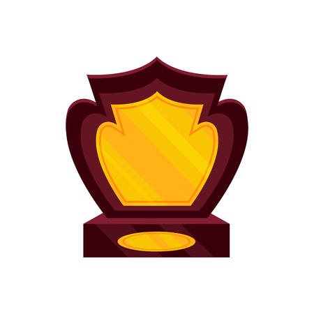 Honorable award for the winner. Golden trophy on brown wooden base. Victory symbol. Colorful graphic element for mobile game or app. Vector illustration in flat style isolated on white background.