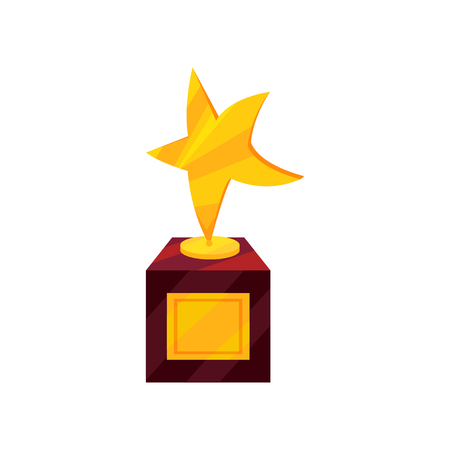 Icon of golden award in shape of star on brown wooden base. Winner s trophy. First place prize. Success and victory theme. Colorful vector illustration in flat style isolated on white background.