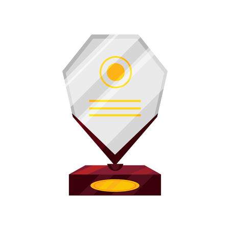 Cartoon illustration of glass statuette on wooden base. Reward for victory. Shiny trophy for winner of competition. Honorable award. Colorful vector icon in flat style isolated on white background. Illustration