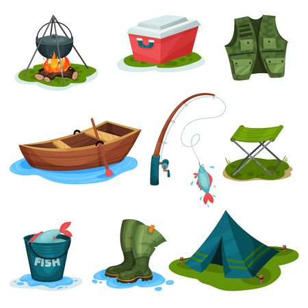 Fishing sport symbols set, outdoor activity equipment vector Illustrations isolated on a white background. Stock Illustratie