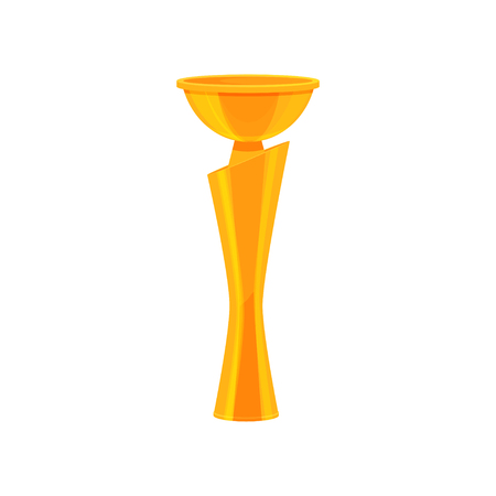 Tall golden champion trophy. Shiny gold cup. Award for winner of competition. Flat vector for advertising poster or mobile app