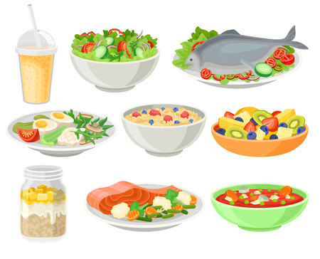 Köstliche und frische Gerichte setzen, gesunde Ernährungskonzeptvektorillustrationen lokalisiert auf einem weißen Hintergrund. Vektorgrafik