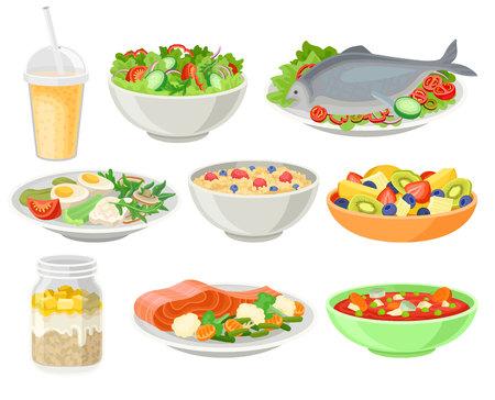 Set di piatti freschi e deliziosi, illustrazioni di vettore di concetto di mangiare sano isolate su sfondo bianco. Vettoriali