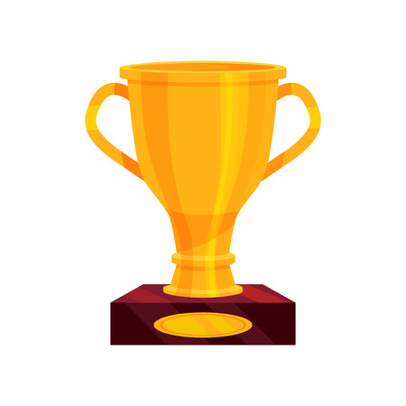 Large golden cup on brown base. Shiny prize for champion. Bright award for winner. Flat vector for mobile app or game