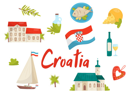 Set of national cultural symbols of Croatia. Old architecture, traditional food and drink, sailing yacht, licitar heart and flag with coat of arms. Cartoon style icons. Flat vector isolated on white.