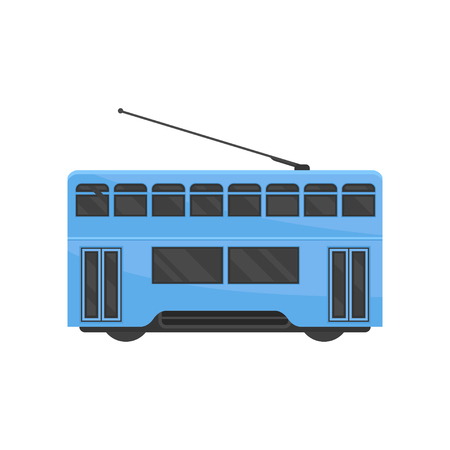 Icon of blue Hong Kong tramway. Public Chinese transport. Urban tram-train. Modern rail vehicle. Graphic element for mobile game or map. Colorful vector illustration in flat style isolated on white. Ilustração