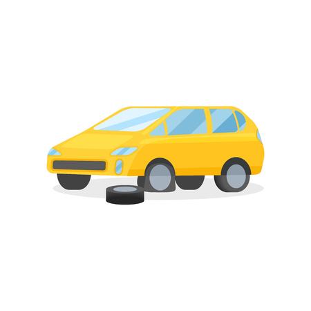 Voiture jaune vif avec pneu crevé. Élément graphique pour affiche publicitaire ou dépliant d'atelier de réparation automobile. Icône de style dessin animé. Illustration de vecteur plat coloré isolé sur fond blanc
