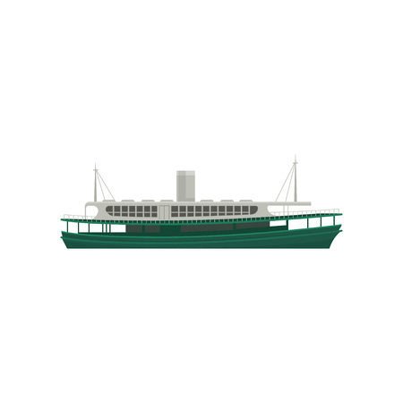 Cartoon icon of famous Hong Kong ferry. Large green ship for passengers. Big marine vessel. Graphic element for promo poster or banner. Colorful flat vector illustration isolated on white background.