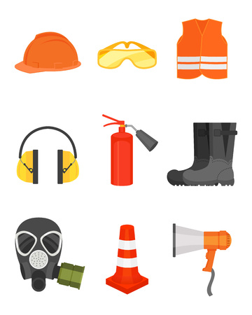 Collection of safety equipment. Protective wear and boots, loudspeaker, traffic cone, gas mask and fire extinguisher. Cartoon style icons. Colorful flat vector design isolated on white background.