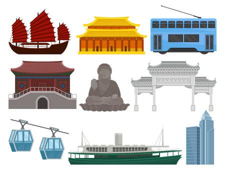 Zestaw elementów podróży w Hongkongu. Tradycyjny i nowoczesny budynek chiński, posąg Wielkiego Buddy, transport morski, kolejowy i linowy. Znane zabytki turystyczne. Ilustracje wektorowe płaskie na białym tle.