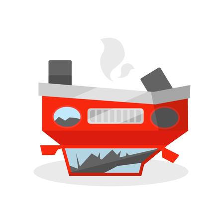 Car lies reverse on its the roof. Automobile after crash. Wrecked vehicle. Element for promo poster or flyer of insurance company. Colorful flat vector illustration isolated on white background.