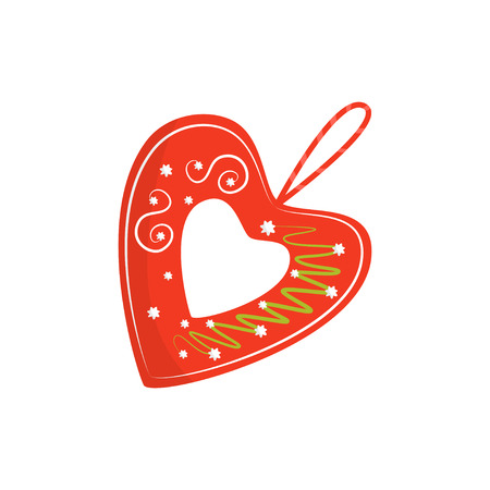 Flat vector icon of bright red licitar heart. Traditional authentic Croatian souvenir. Decorative element for Christmas tree